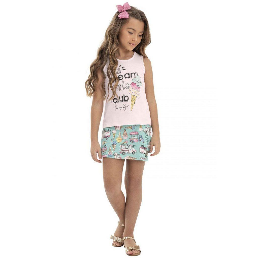 Conjunto Infantil Blusa e Shorts Saia Sorvetes Rosa Quimby