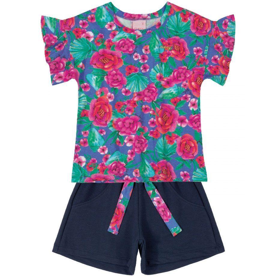 Conjunto Infantil Blusa e Shorts Pink e Marinho Quimby