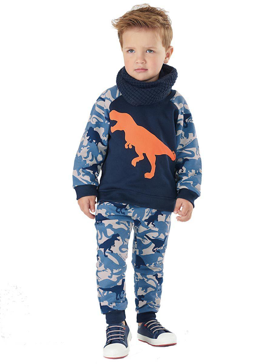 Conjunto Infantil Blusão e Calça Dino Camuflado Marinho Up Baby