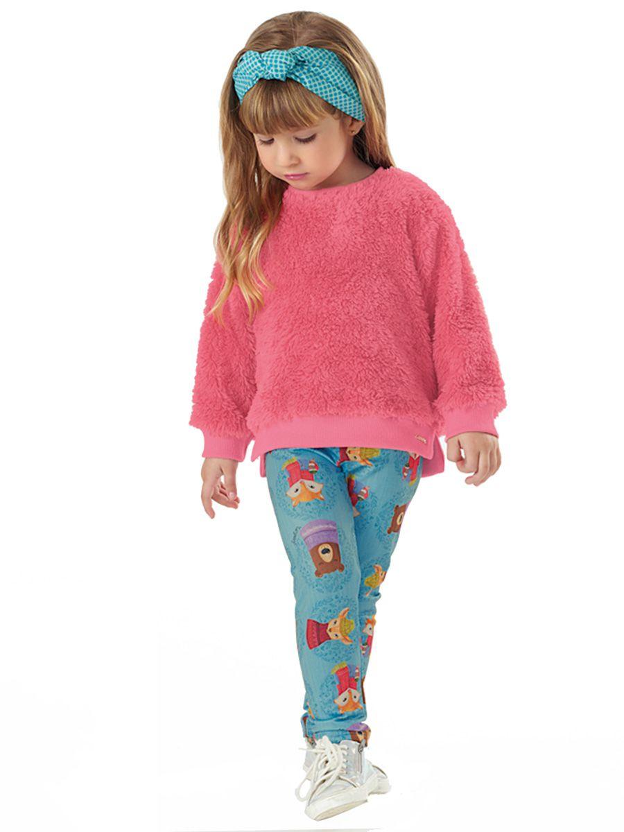 Conjunto Infantil Blusão em Pelo e Calça em Malha Flanelada Pink Up Baby