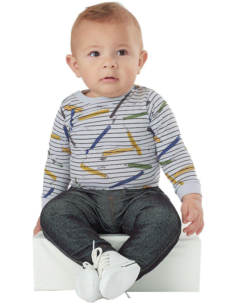 Kit Body Bebê Manga Longa e Calça Moletom Índigo Cinza Up Baby