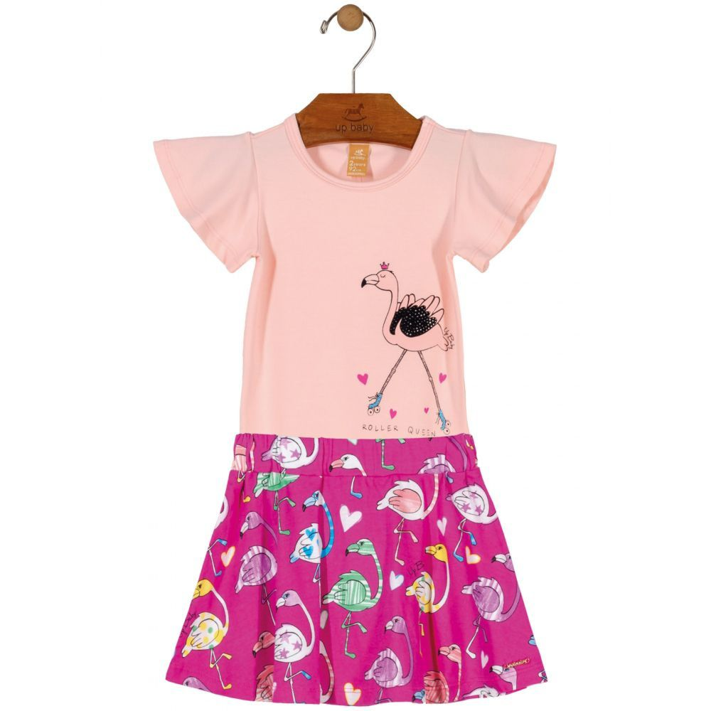 Kit Body Bebê Manga Curta e Saia Flamingos Rosa Up Baby