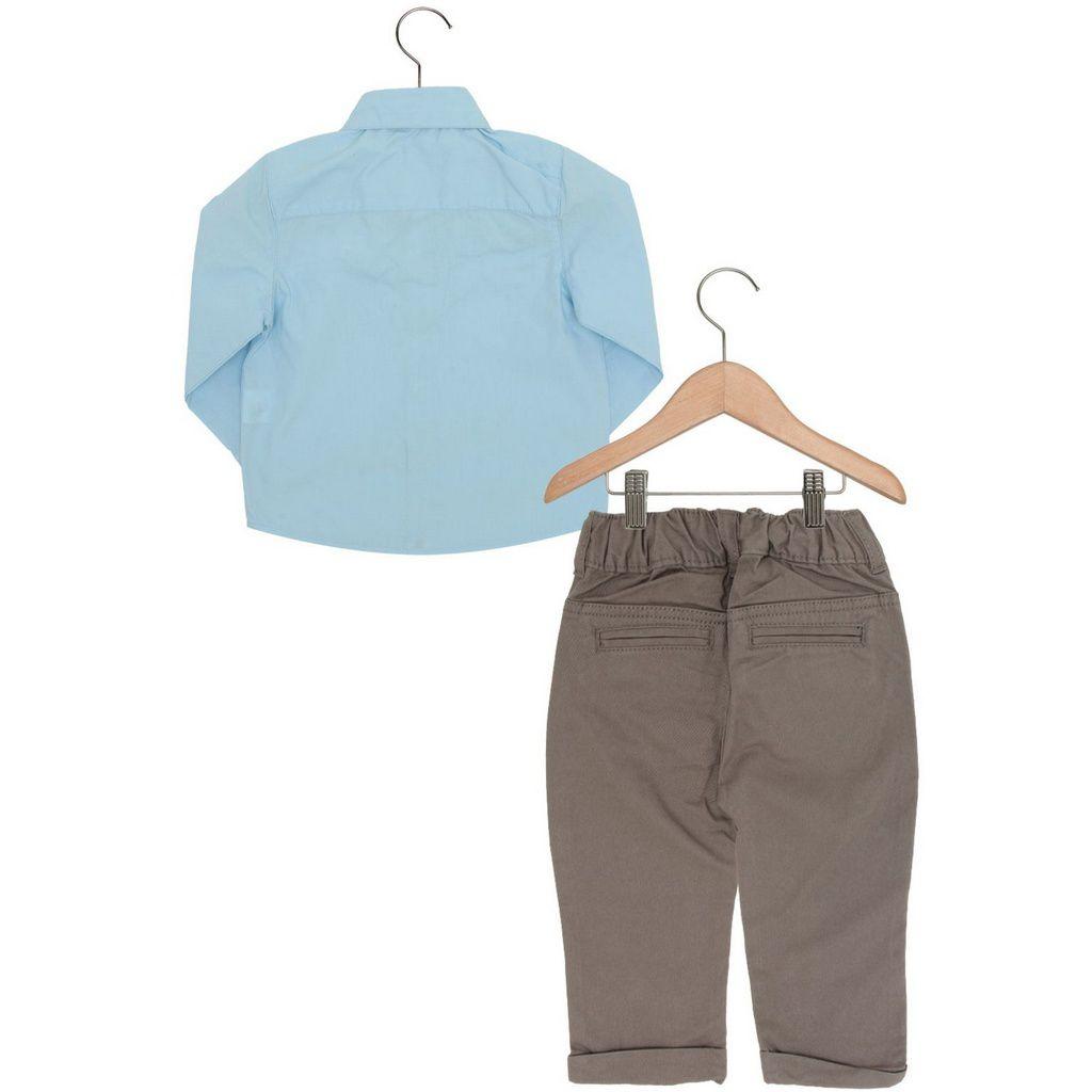 Conjunto Bebê Camisa com Calça Sarja Marrom Carinhoso