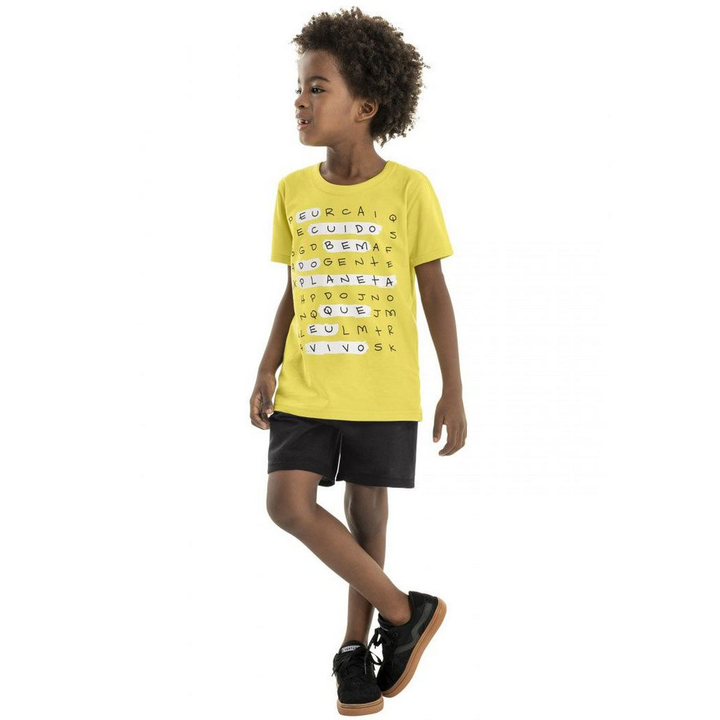 Conjunto Infantil Camiseta e Bermuda Caça-palavras Amarelo Bee Loop