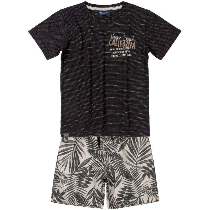 Conjunto Infantil Camiseta e Bermuda Preto Quimby