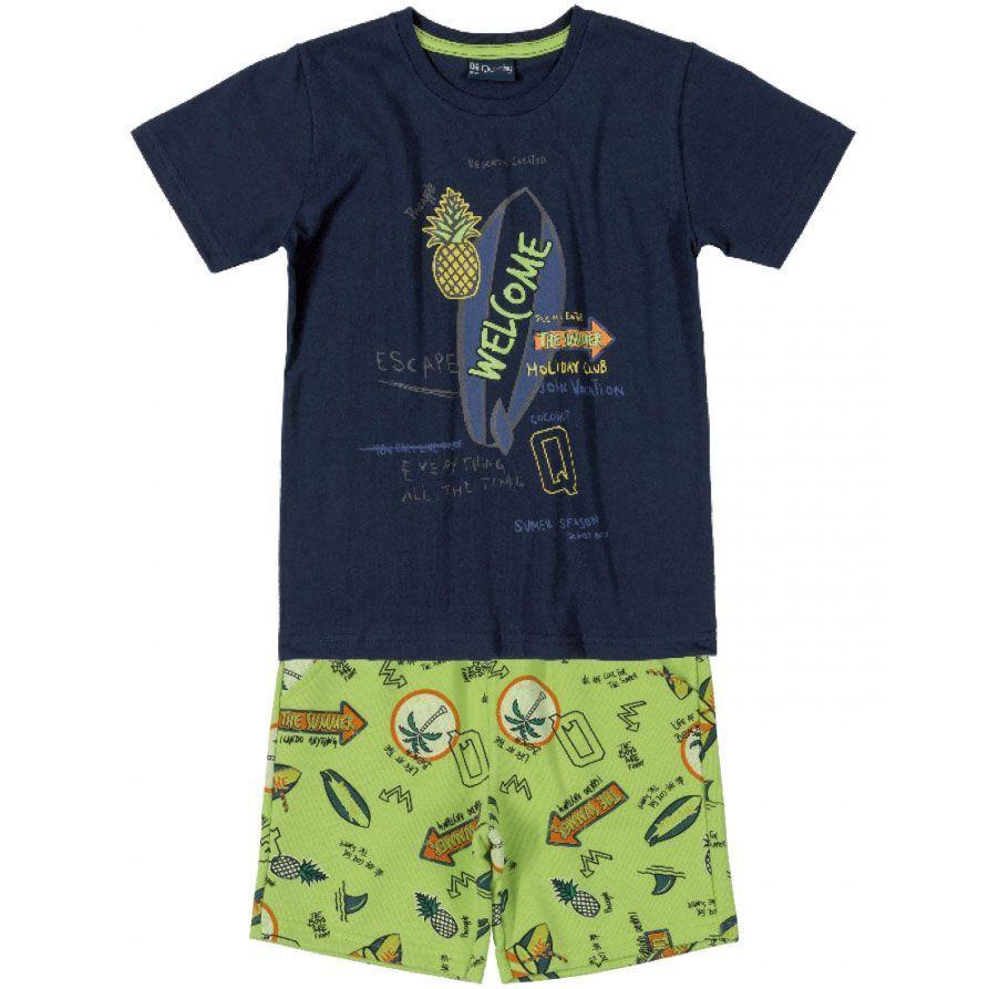 Conjunto Infantil Camiseta e Bermuda Abacaxis Marinho Quimby