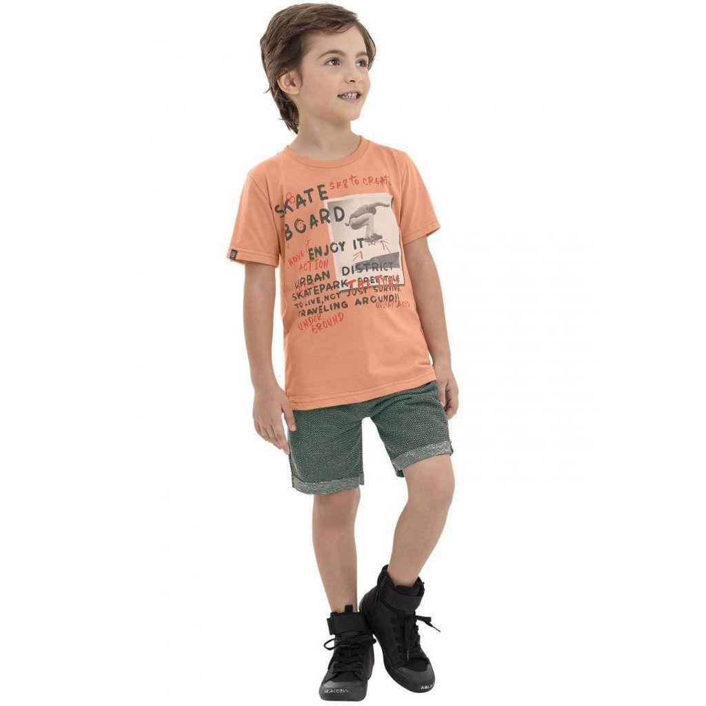Conjunto Infantil Camiseta e Bermuda  Salmão Quimby