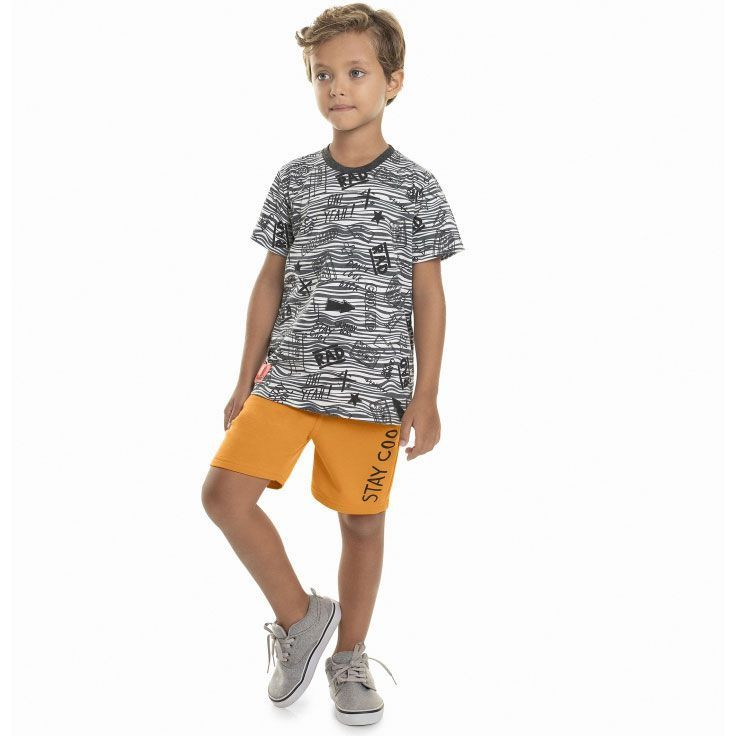 Conjunto Infantil Camiseta e Bermuda Cinza Quimby