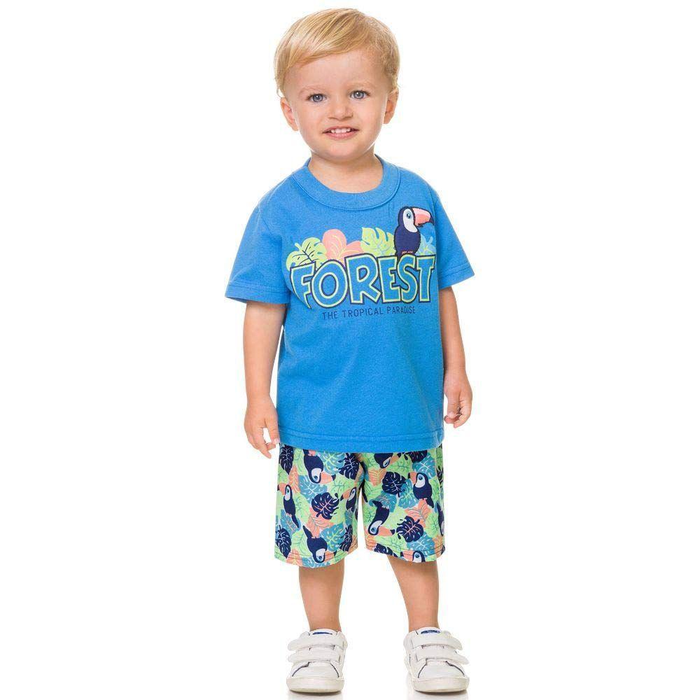 Conjunto Infantil Camiseta e Bermuda Forest Azul Kyly
