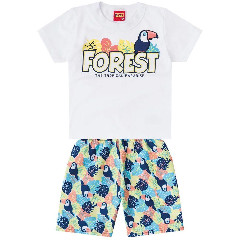 Conjunto Infantil Camiseta e Bermuda Forest Branco Kyly