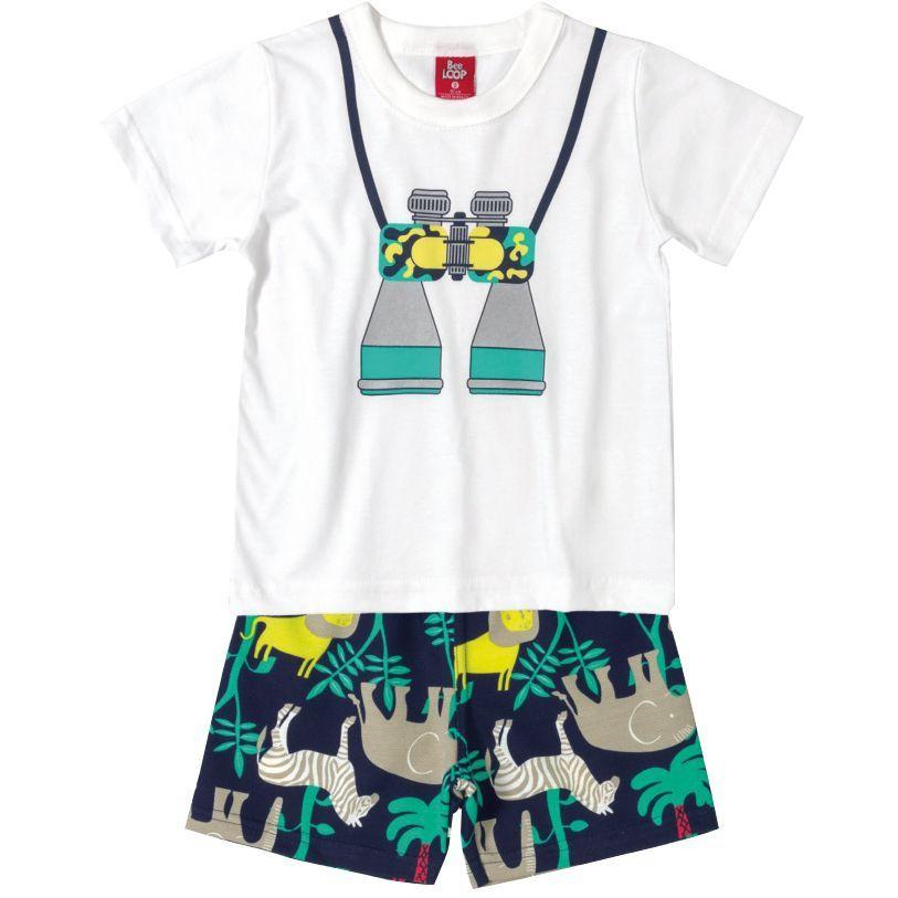 Conjunto Infantil Camiseta e Bermuda Moletinho Binóculo Safari Bee Loop