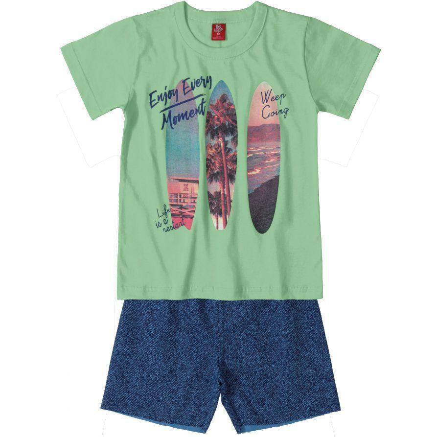Conjunto Infantil Camiseta e Bermuda Moletinho Surf Verde Bee Loop