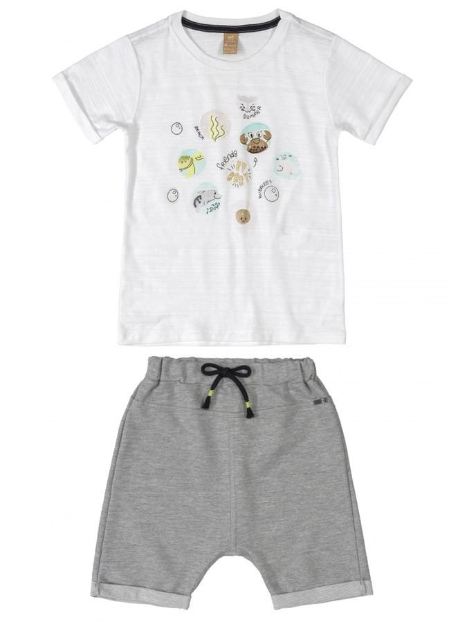 Conjunto Infantil Camiseta e Bermuda Saruel em Moletom Branco Up Baby