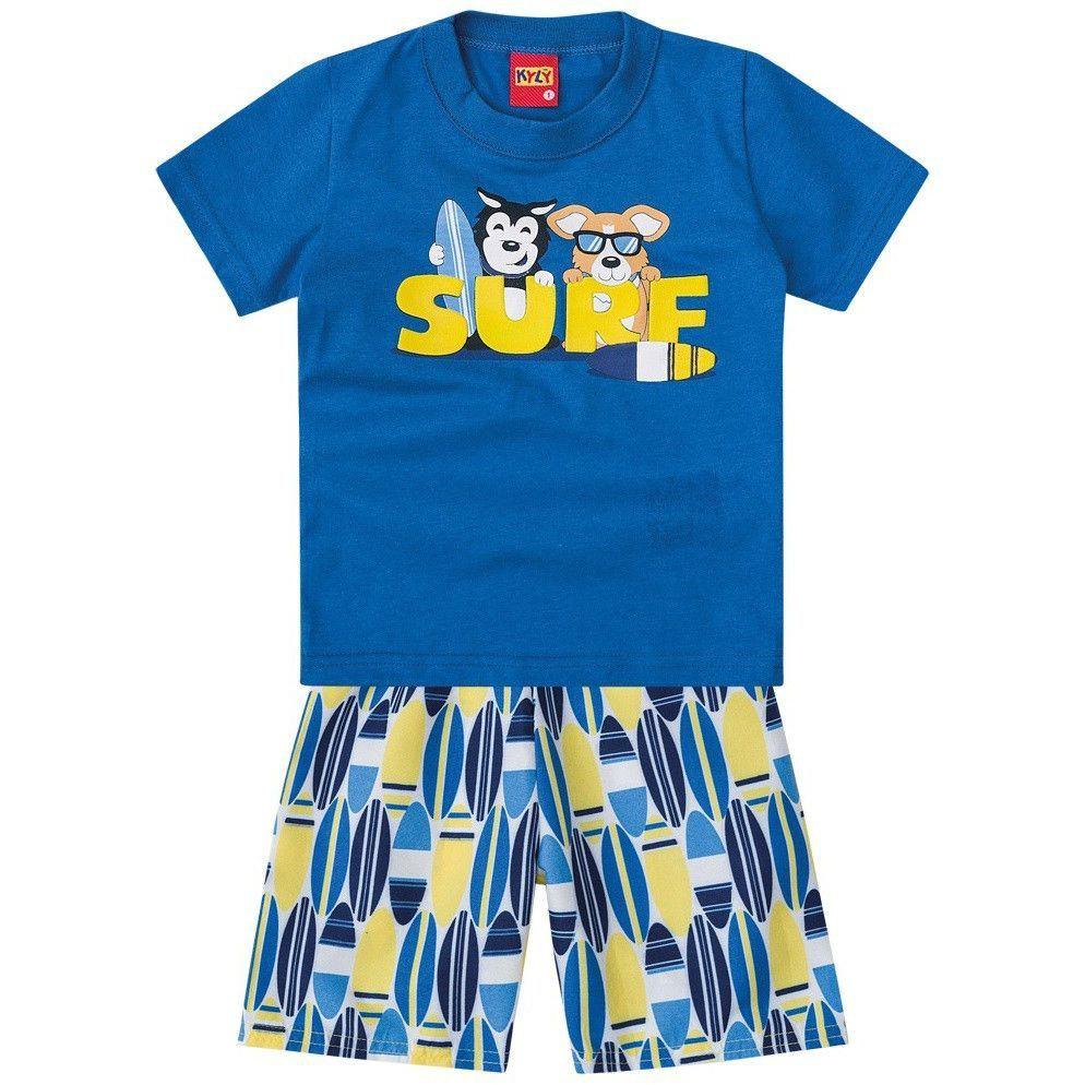 Conjunto Infantil Camiseta e Bermuda Surf Azul Kyly