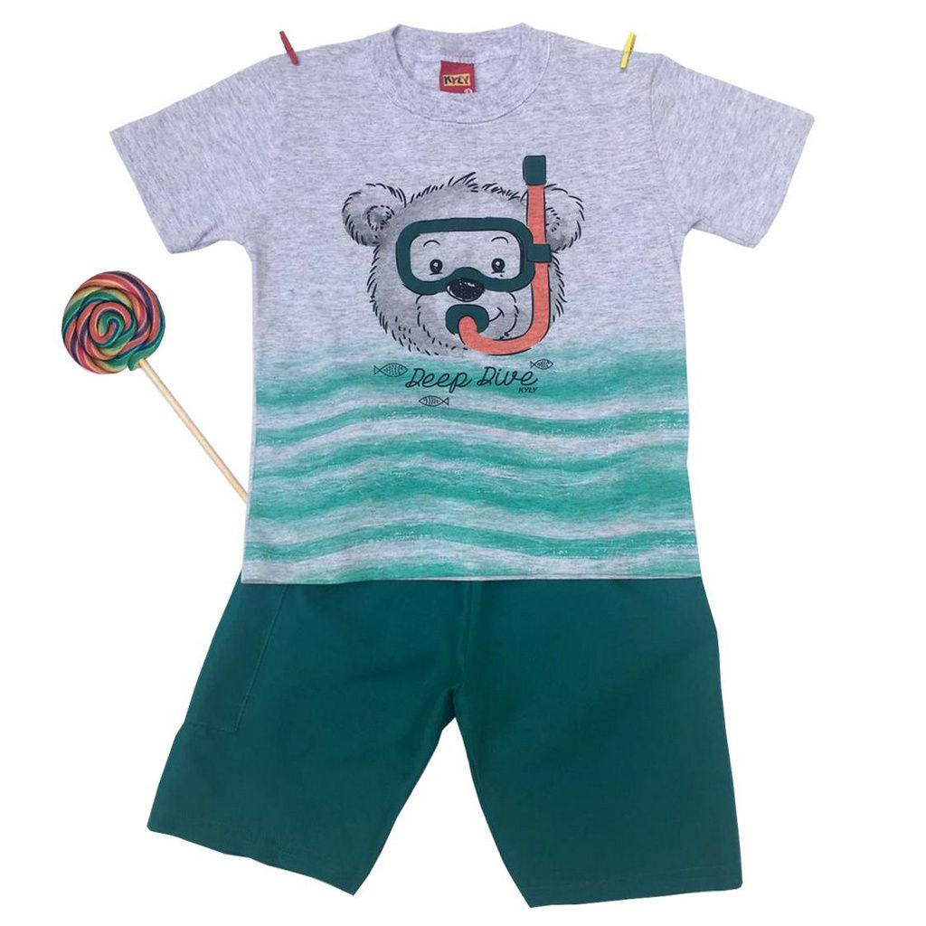 Conjunto Infantil Camiseta e Bermuda Urso Mergulhador Verde Kyly