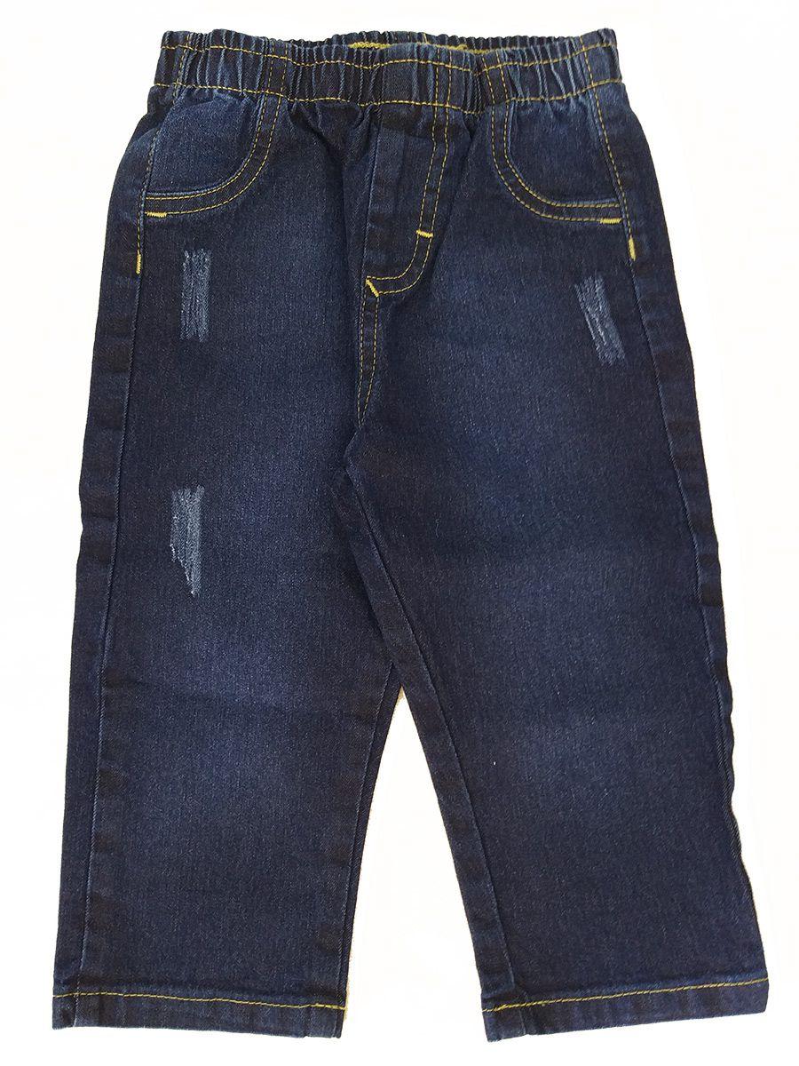 Conjunto Bebê Camiseta e Calça Jeans Branco e Vermelho Carinhoso