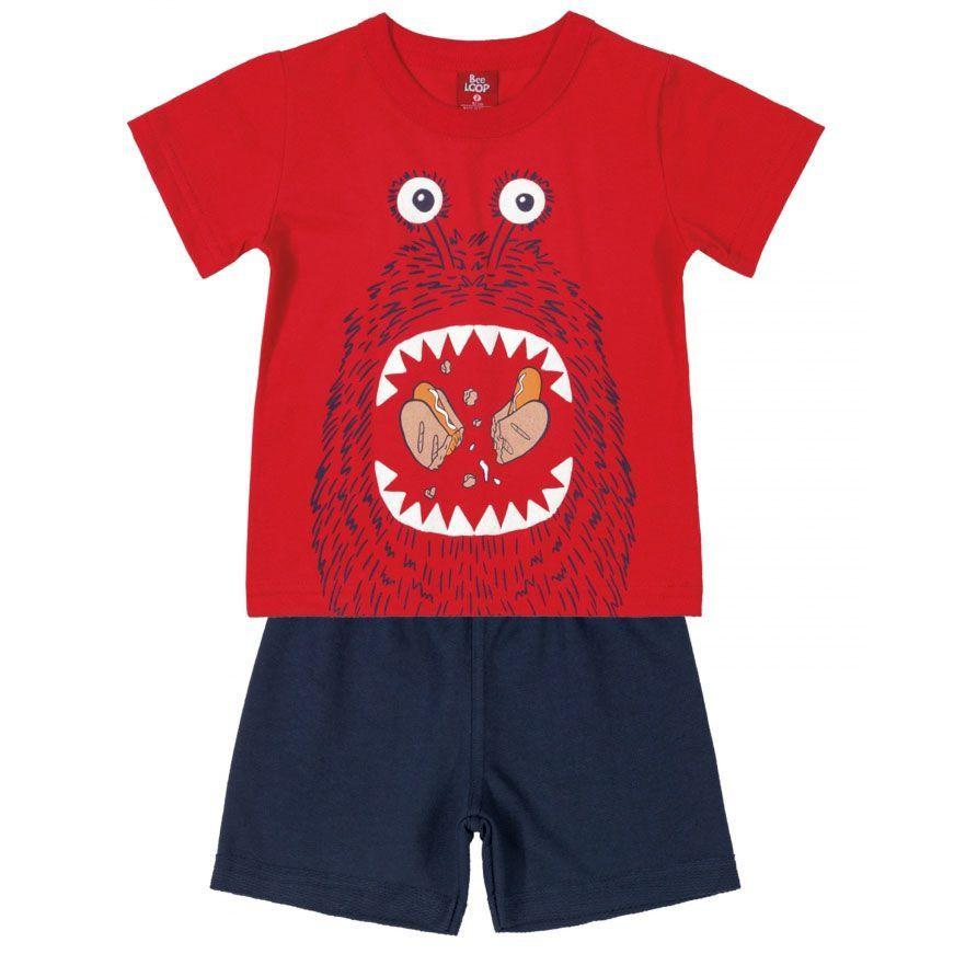 Conjunto Infantil Camiseta e Bermuda em Moletinho Hot Dog Vermelho Bee Loop