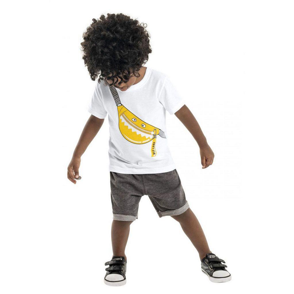 Conjunto Infantil Camiseta e Bermuda em Moletinho Pochete Branco Bee Loop