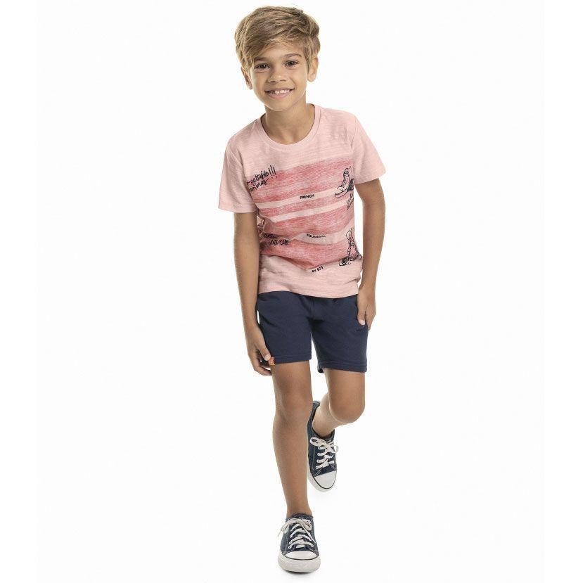 Conjunto Infantil Camiseta e Bermuda Rosa Quimby