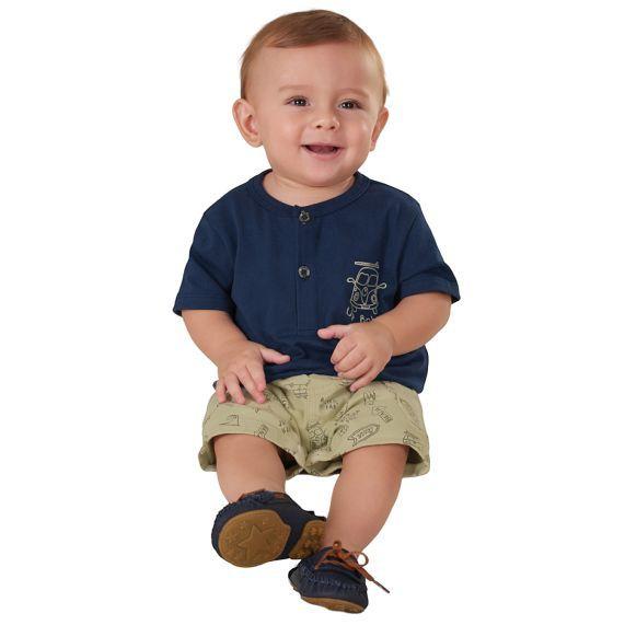 Conjunto Infantil Camiseta Gola Padre e Bermuda em Sarja Marinho Up Baby