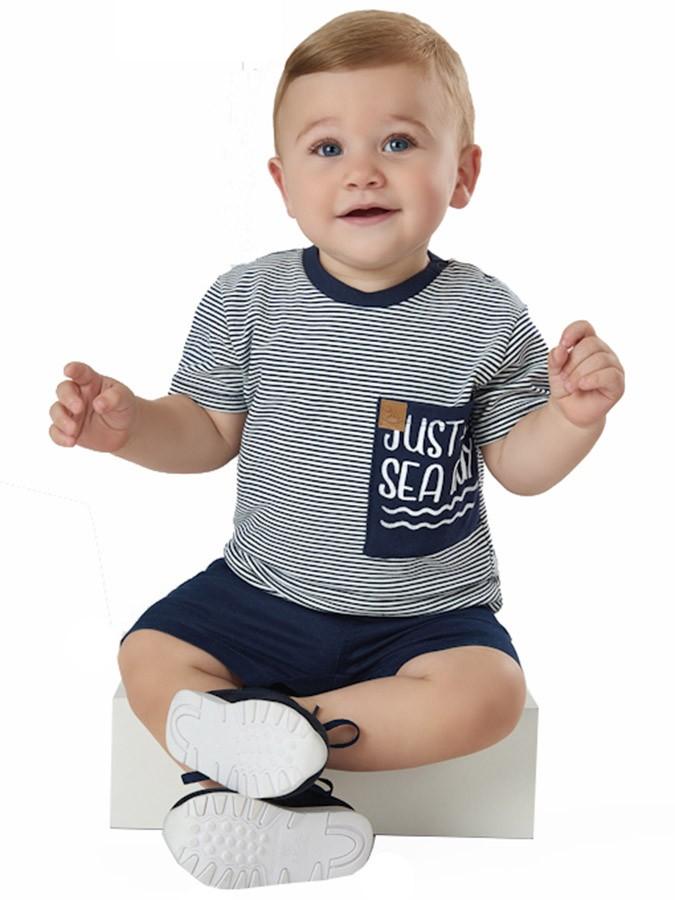Conjunto Infantil Camiseta Listrada e Bermuda em Sarja Marinho Up Baby