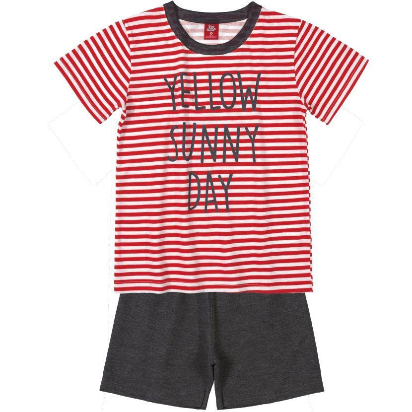 Conjunto Infantil Camiseta Listrada Vermelho e Bermuda Moletinho Bee Loop