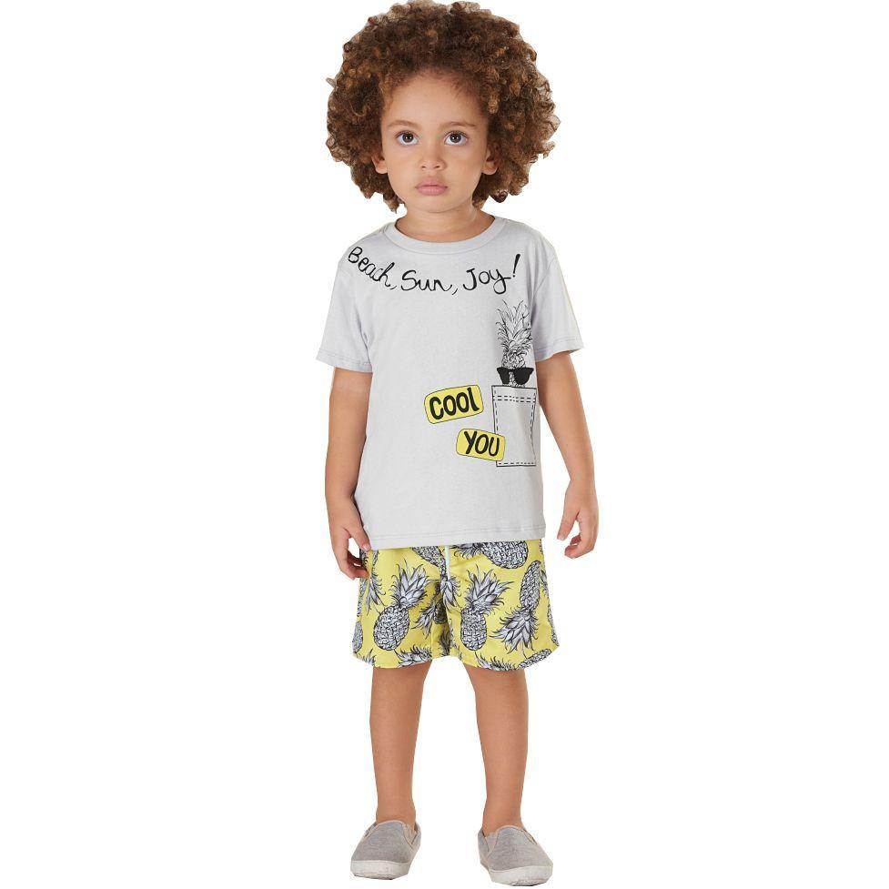 Conjunto Bebê Camiseta e Bermuda em Microfibra Cinza Up Baby