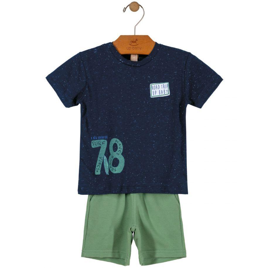 Conjunto Bebê Camiseta e Bermuda em Moletom Marinho Up Baby