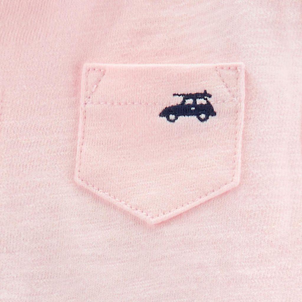 Conjunto Camiseta Polo, Body e Bermuda Carrinhos Carter´s