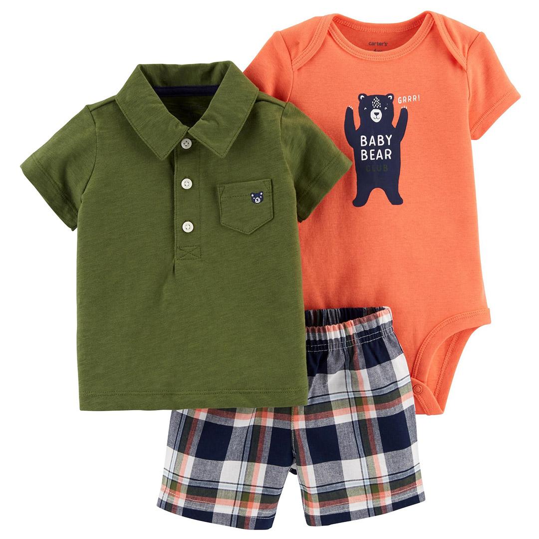 Conjunto Camiseta Polo, Body e Bermuda Urso Carter´s