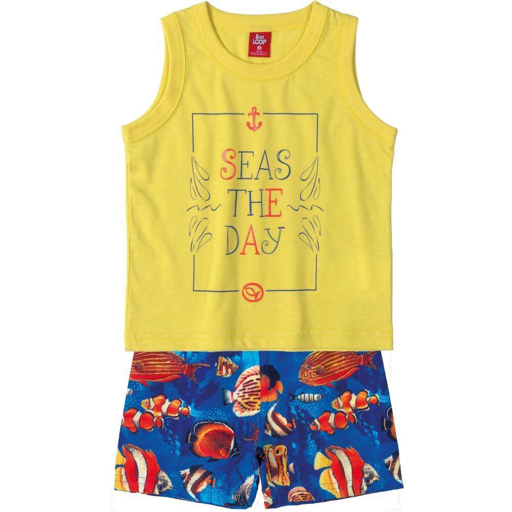 Conjunto Infantil Camiseta Regata e Bermuda Microfibra Amarela Bee Loop
