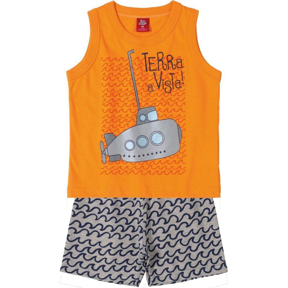 Conjunto Infantil Camiseta Regata e Bermuda Moletinho Submarino Laranja Bee Loop