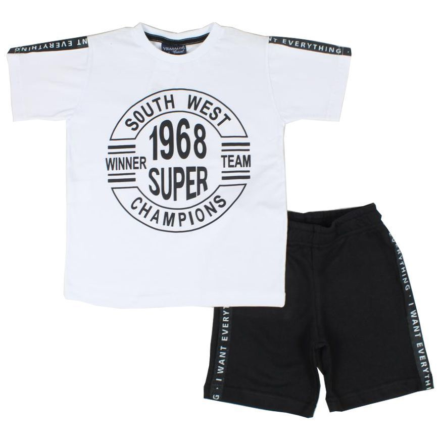 Conjunto Infantil Camiseta South West e Bermuda Moletinho Branco Vrasalon