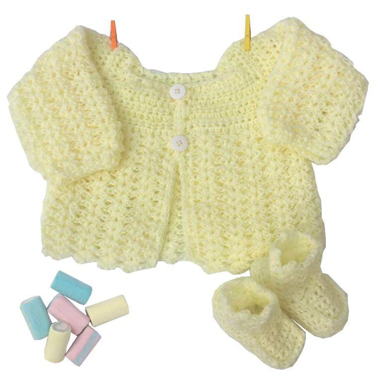 Conjunto Casaquinho e Sapatinhos em Crochê Amarelo