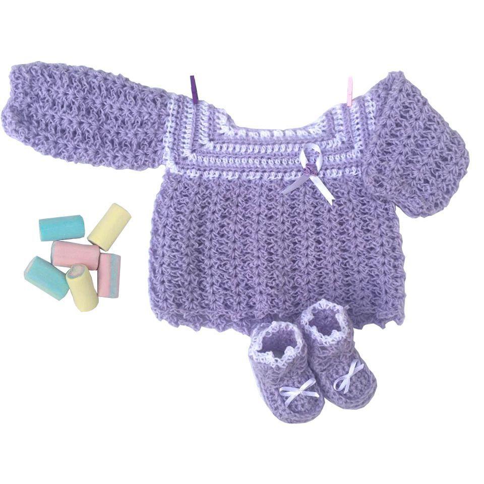 Conjunto Casaquinho e Sapatinhos em Crochê Lilás com Laço sem botões