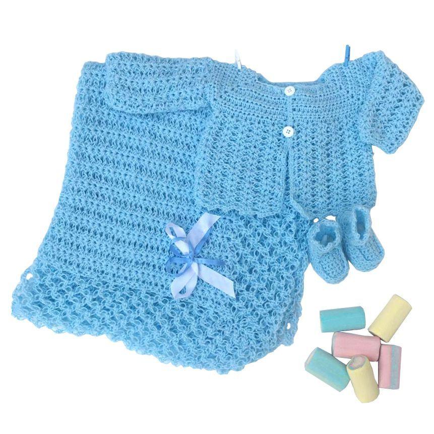 Conjunto Casaquinho, Sapatinhos e Manta em Crochê Azul
