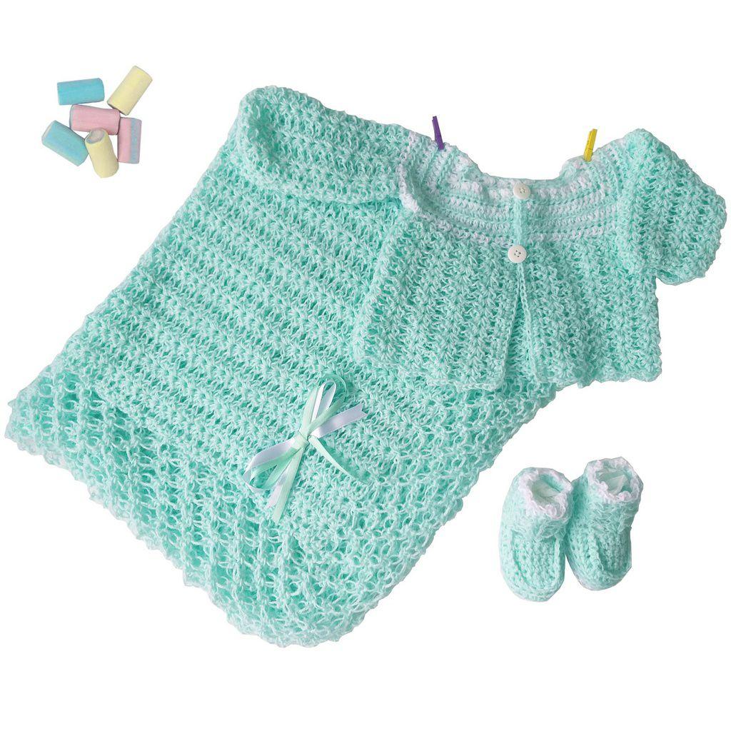Conjunto Casaquinho, Sapatinhos e Manta em Crochê Verde c/detalhes Brancos