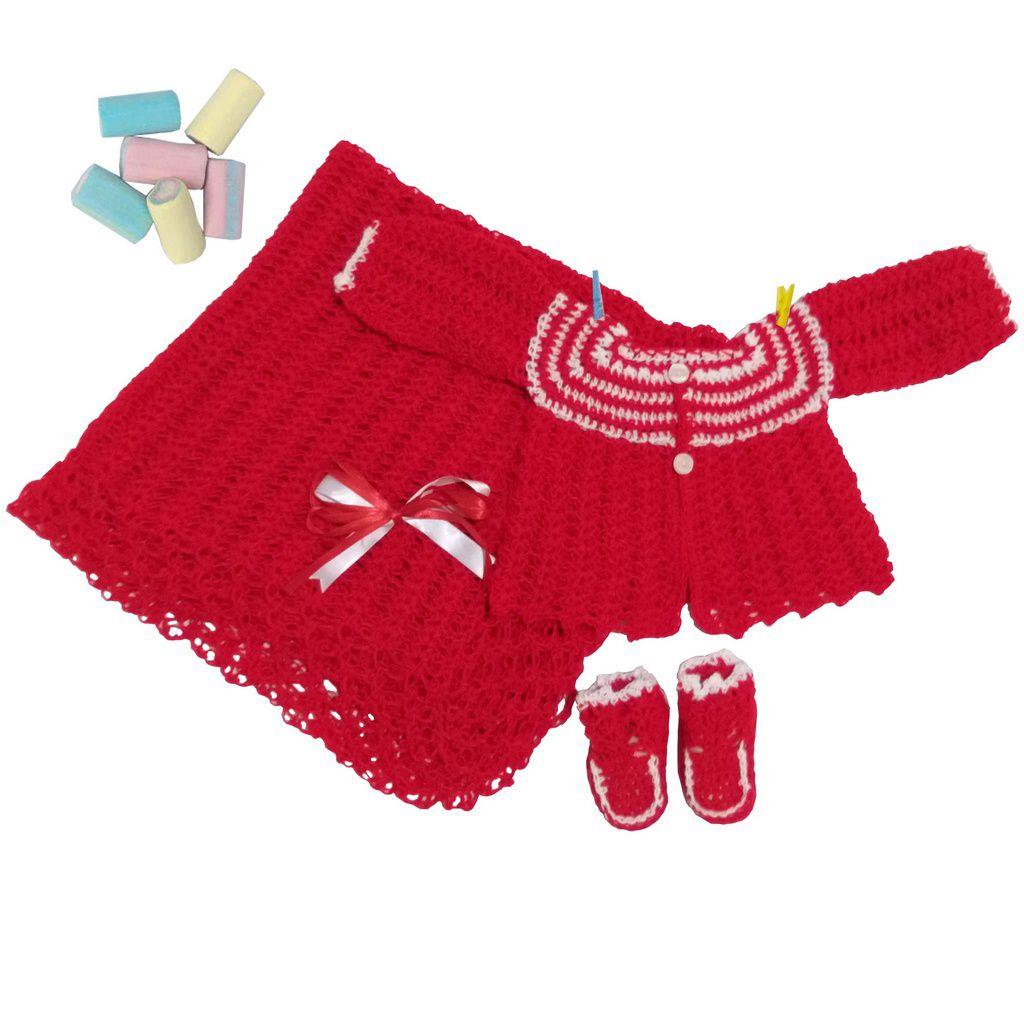 Conjunto Casaquinho, Sapatinhos e Manta em Crochê Vermelho c/detalhes Brancos