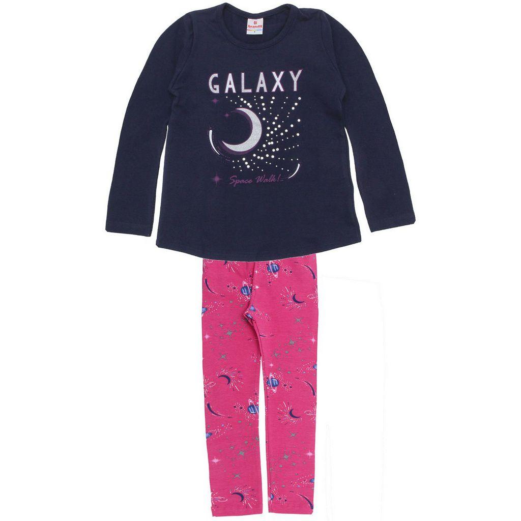 Conjunto Infantil Blusa com Legging Galaxy Azul Brandili