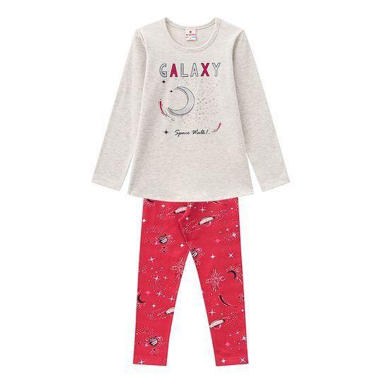 Conjunto Infantil Blusa com Legging Galaxy Cinza Brandili