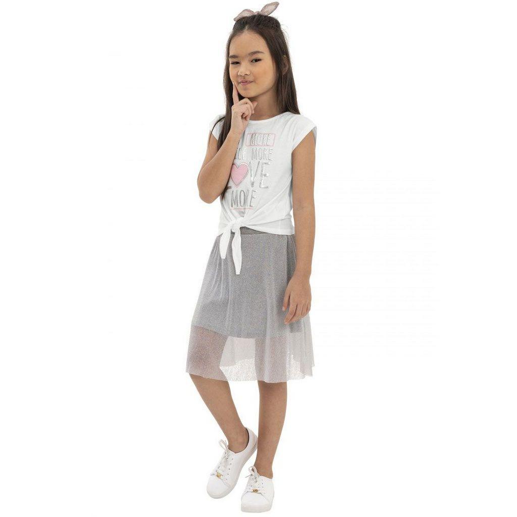 Conjunto Infantil Blusa e Saia Branco Quimby