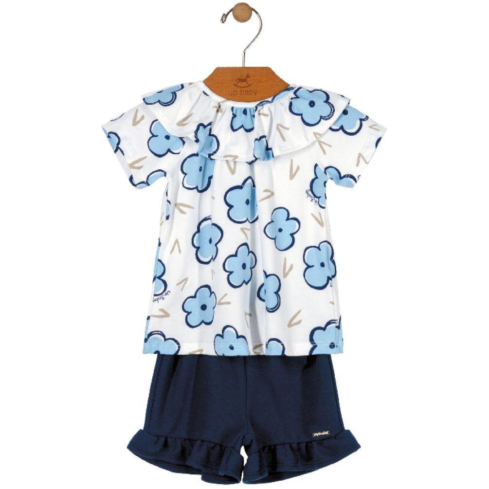Conjunto Infantil Manga Curta Flores Azul Up Baby
