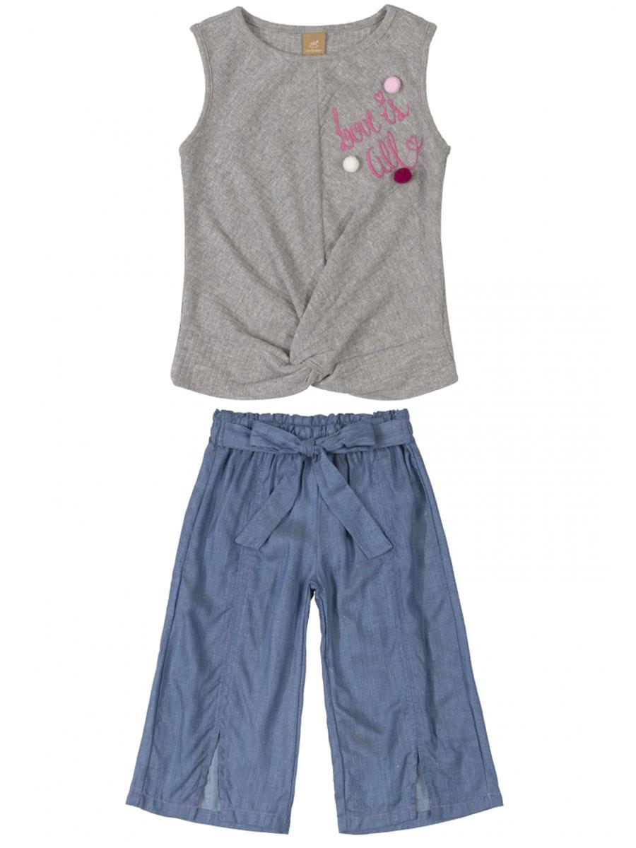 Conjunto Infantil Blusa Ribana Canelada e Calça em Tecido Cinza Up Baby