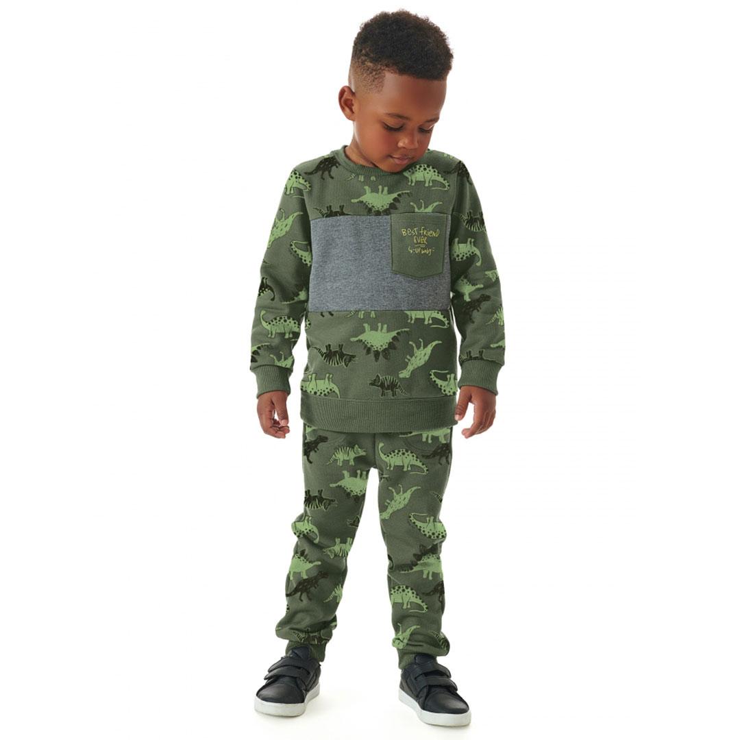 Conjunto Infantil Blusão e Calça Dinos Camuflado Verde Up Baby