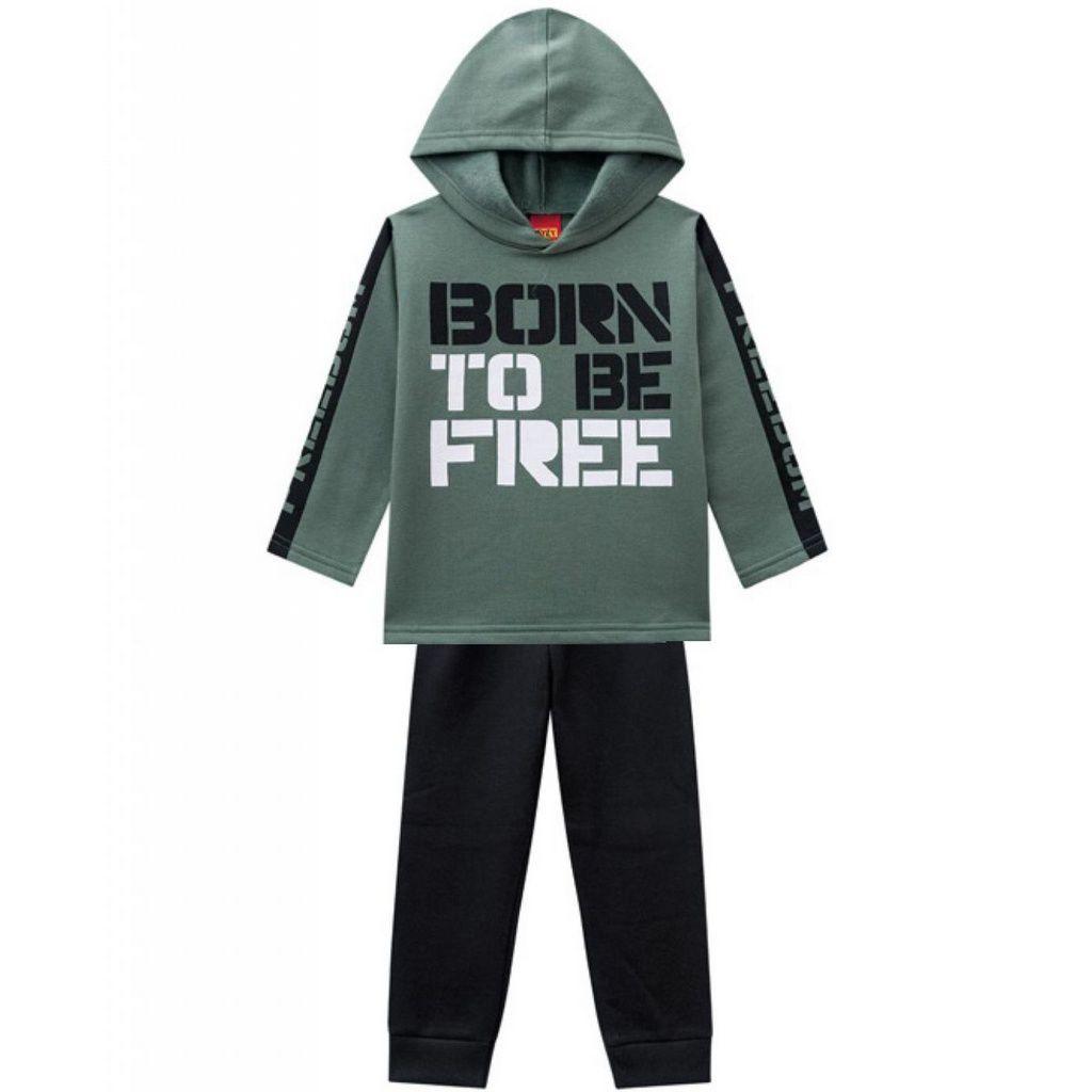 Conjunto Infantil Moletom com Capuz Born To Be Free Verde Kyly