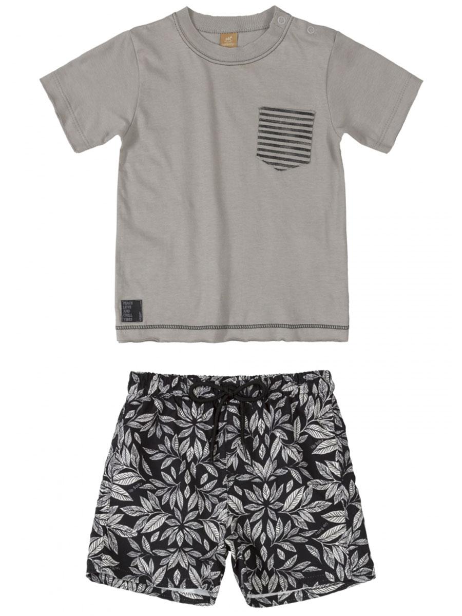 Conjunto Infantil Camiseta e Bermuda em Microfibra Cinza Up Baby
