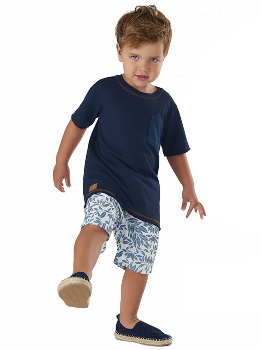Conjunto Infantil Camiseta e Bermuda em Microfibra Marinho Up Baby
