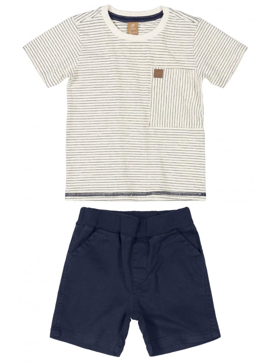 Conjunto Infantil Camiseta e Bermuda em Sarja Natural Up Baby