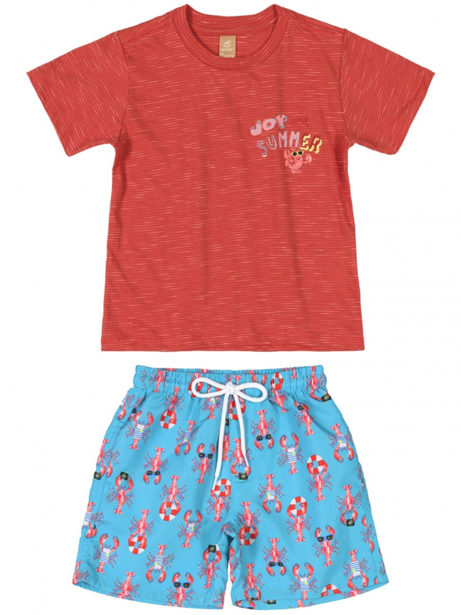 Conjunto Infantil Camiseta e Bermuda Lagostas Coral Up Baby