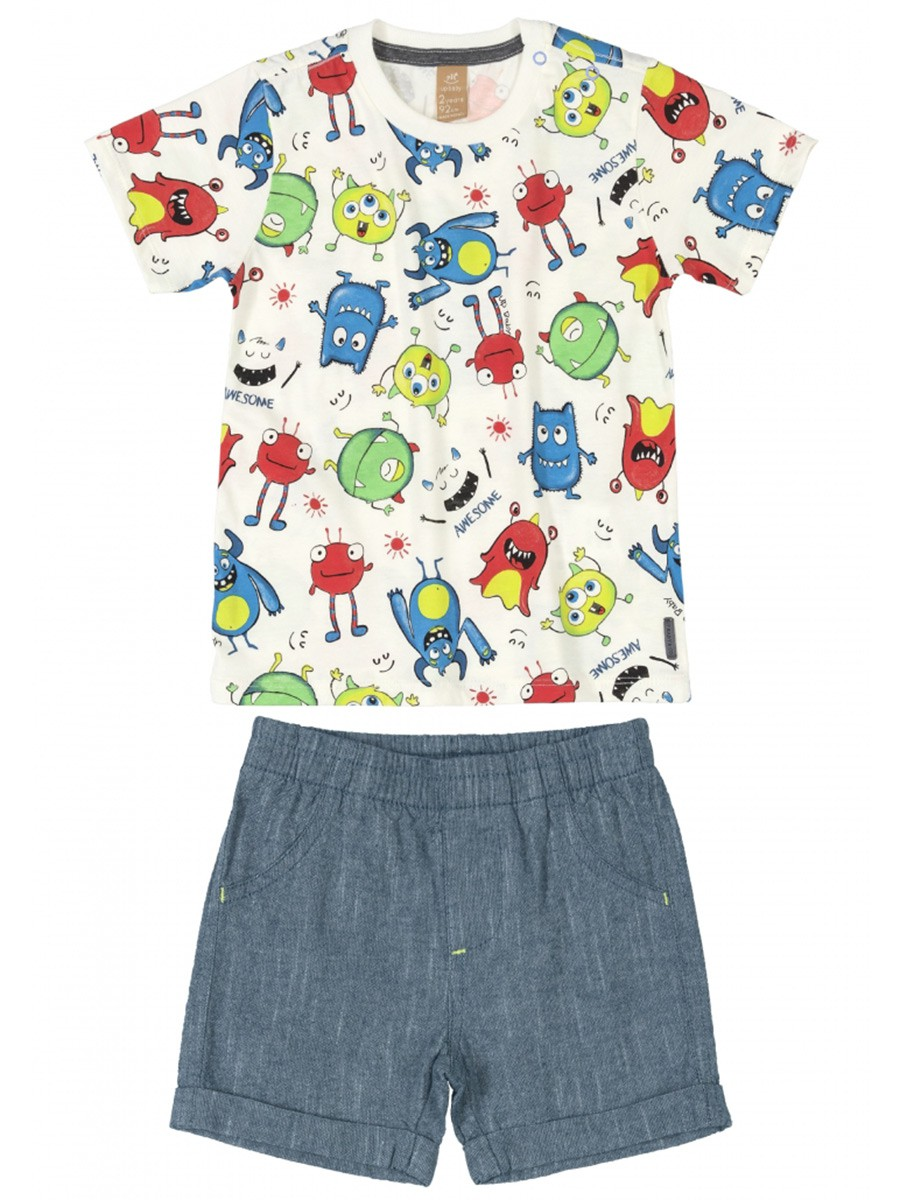 Conjunto Infantil Camiseta e Bermuda Monstros Bege Up Baby